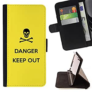 DEVIL CASE - FOR HTC One M8 - Danger Sign Symbol Black Skull Yellow - Style PU Leather Case Wallet Flip Stand Flap Closure Cover