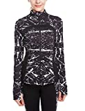 icyzone Women's Running Shirt Full Zip Workout Track Jacket with Thumb Holes (XL, Monochrome)