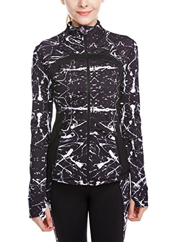 icyzone Women's Running Shirt Full Zip Workout Track Jacket with Thumb Holes (S, Monochrome) ()