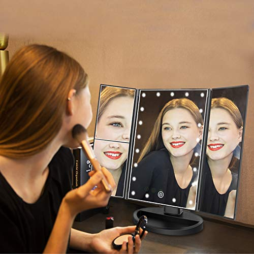 deweisn Tri-Fold Lighted Vanity Mirror with 21 LED Lights, Touch Screen and 3X/2X/1X Magnification, Two Power Supply Mode Make up Mirror,Travel Mirror