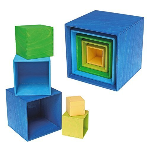 Grimm's Spiel und Holz Design - Small Stacking and Nesting Boxes, 5 Pieces ()
