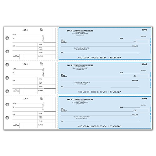 CheckSimple 3-Per-Page All-Purpose Manual Business Checks with Stub Voucher (150 Checks) - Custom