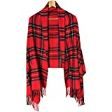 N'joy Long Shawl Scarf, Tartan, Multicolor Checked Plaid Blanket with Fringe Trims