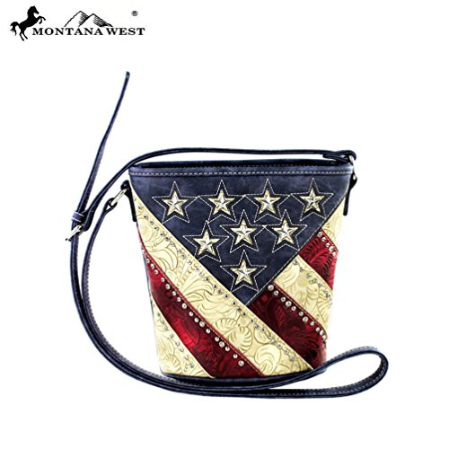 Montana West American Pride Bucket Shaped Cross Body Bag (Navy)
