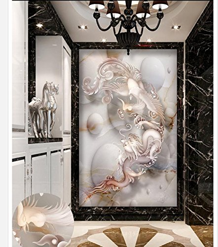 400cmX280cm Home Decoration Dragon & Phoenix Marble 3D Entrance TV Background Wall Painting bathroom 3d wallpaper,F by 3Ds wallpaper