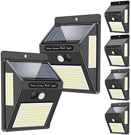 Solar Lights Outdoor 120 LED 3 Optional Modes ,270 Lighting Angle Solar Motion Sensor Lights Wireless IP65 Waterproof Outdoor Solar Security Lights for Porch Garden Yard Fence Patio Deck 6 Pack