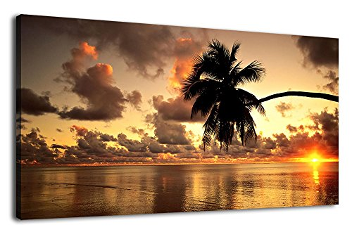 Beach Sunset Canvas Wall Art Bedroom Living Room Palm Tree Silhouette on Sea Picture Prints Large Nature Ocean Canvas Artwork Seaside Scenery for Home Office Decoration Framed Ready to Hang 20