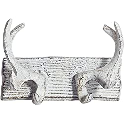 Comfify Vintage Cast Iron Deer Antlers Wall Hooks by Antique Finish Metal Clothes Hanger Rack w/Hooks | Includes Screws and Anchors | in Antique White| (Antlers Hook CA-1507-23)