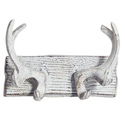 (Comfify Vintage Cast Iron Deer Antlers Wall Hooks Antique Finish Metal Clothes Hanger Rack w/Hooks | Includes Screws and Anchors | in Antique White| (Antlers Hook)
