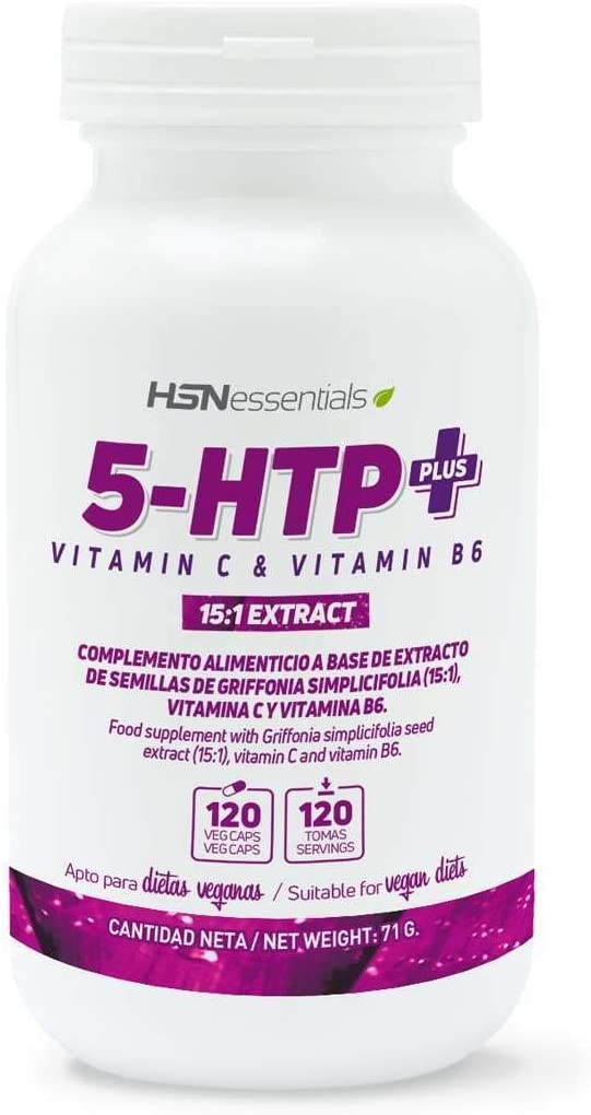 5-HTP PLUS 200mg + Vitaminas C & B6 - 120 veg caps: Amazon.es ...