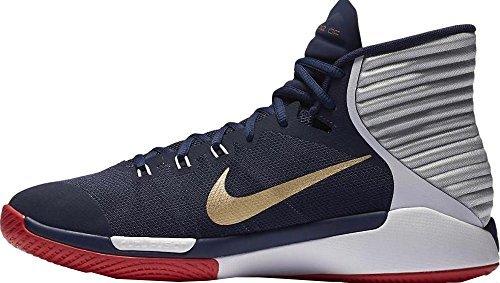 Nike Mens Prime Hype Df 2016 Basketball Sneaker   Midnight Navy Gold White Royal   10 5