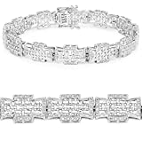 Sterling Silver 925 Tennis Bracelet White Diamond Round 0.48 ct 8.50 inches