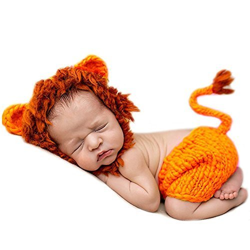 Eyourhappy Baby Newborn Handmade Crochet Knitted Animal Costume Photography Props Lion Cap Pant Outfit Orange