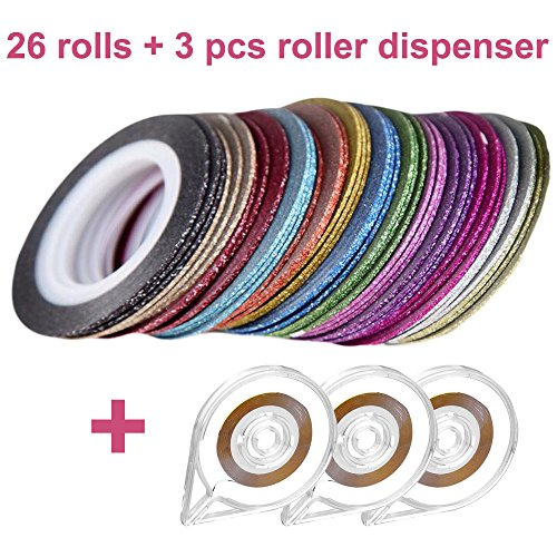 WOMHOPE 26 Pcs Assorted Color Glitter Striping Tape Line Nail Art DIY Decoration Stickers - 3 Pcs FREE Tape Roller Dispenser (0.8mm Grind arenaceous 26 pcs - 8.7 yard)
