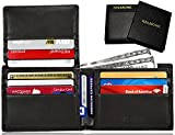 KALMORE Men's RFID Blocking Flip-ID Window Travel Bifold Genuine Leather Wallet - in Gift Box (Full-Grain Leather Black)