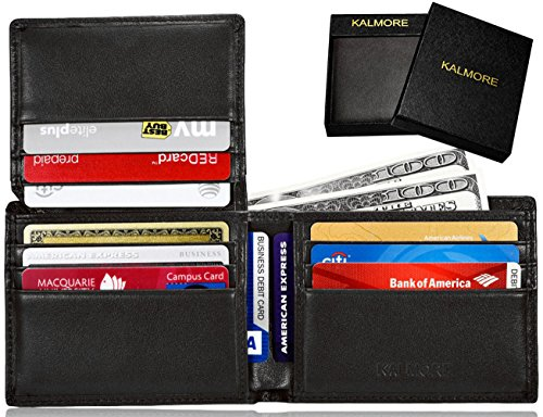 KALMORE Men's RFID Blocking Flip-ID Window Travel Bifold Genuine Leather Wallet - in Gift Box (Full-Grain Leather Black) - Security Badge Forces