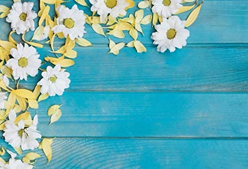 Blue Wooden Board and Daisies Wedding Baby Photography Background Custom Photography Studio Photography Background
