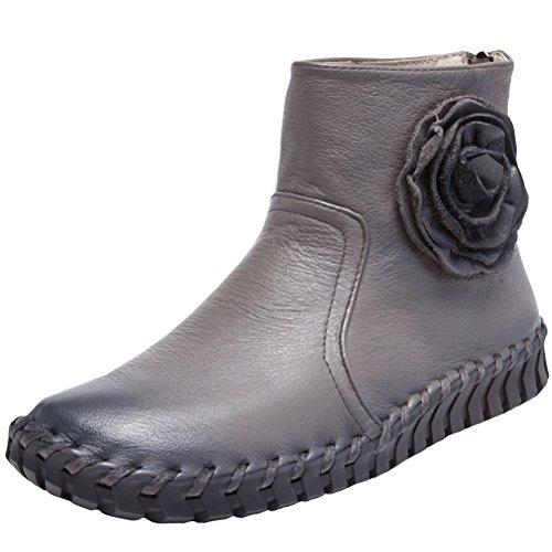 MatchLife Damen Vintage Frühling Sommer Leder Flach Ankle Boots Style2 Dunkelgrau