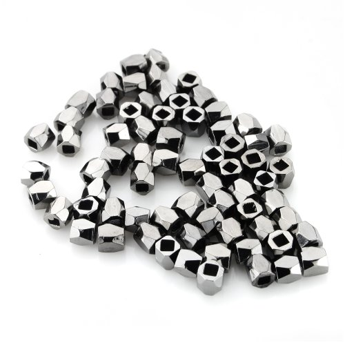 BEADNOVA 100pcs 3-3.5mm Black Plated Faceted Nugget Beads Rondelle Spacer Beads for Jewelry Making