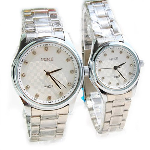 White Face Couple Stainless Steel Watches for Lovers