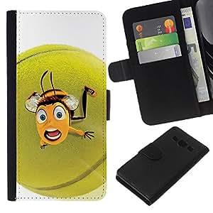 A-type (Bola divertida linda Tenis Abeja) Colorida Impresión Funda Cuero Monedero Caja Bolsa Cubierta Caja Piel Card Slots Para Samsung Galaxy A3