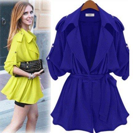UPC 700729300367, Aokin Womens Spring Large Lapels Belted Coat Slim Trench Coat Jacket (L, Blue)