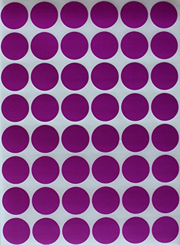 "Color Coding Labels PURPLE ~ 3/4"" diameter (11/16) Rounds Dot Stickers - 0.69-17mm DOTS 336 pack"