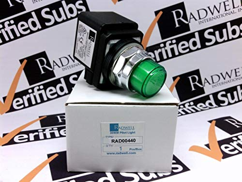 RADWELL VERIFIED SUBSTITUTE 800T-QH24G-SUB Replacement of Allen Bradley 800T-QH24G, Pilot Light - 30MM Pilot Light, 120V, LED, Green