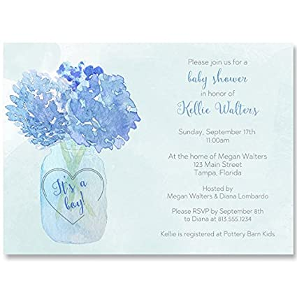 amazon com baby shower invitations mason jar blue hydrangeas