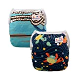 Alva Baby 2pcs Pack One Size Reuseable Washable Printed and Positioning Swim Diapers SWD25-26-CA