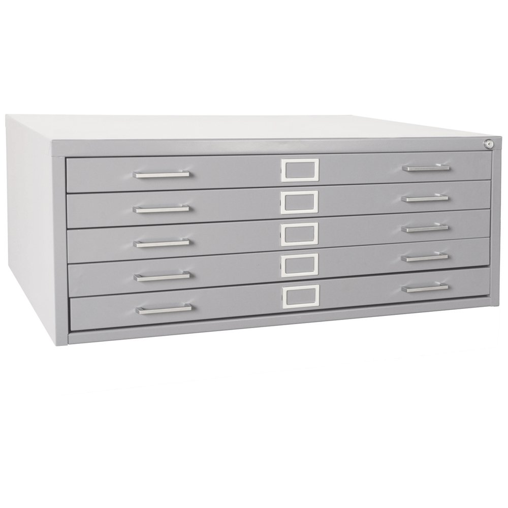 Sandusky 244879GY Heavy Duty Welded Steel 5 Drawer Flat File Storage Cabinet, 46-3/4'' Width x 16-1/8'' Height x 35-3/8'' Depth, Dove Gray by Sandusky