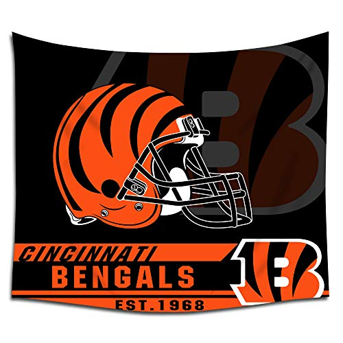 Jacoci Cincinnati Bengals Wall Tapestry Hanging Cool Design for Bedroom Living Room Dorm Handicrafts Curtain Home Decor Size 50x60 Inches