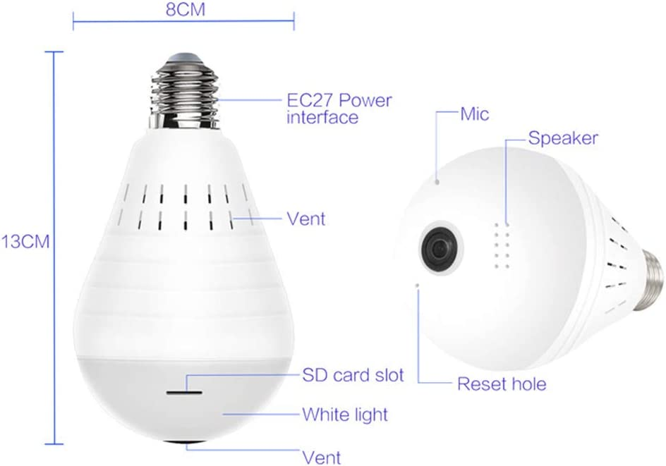 SAFE-HOME 360 Degree zwei Weg Audio White Light Bulb Panoramic 960P Full Color Wireless Smart IP Camera Support 128g