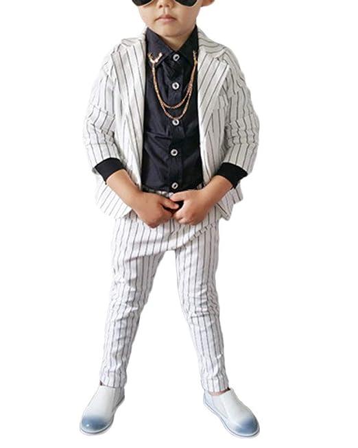 Niño Chico Set Manga Larga Blazer Pantalones Raya Traje Formal ...