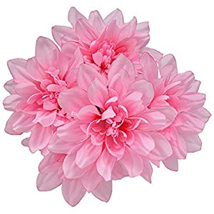 6pc Fake (Artificial) Flowers Set, 5-Stem Pink Dahlia Bushes, 13 in. 30