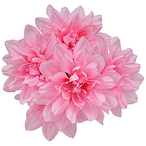 6pc Fake (Artificial) Flowers Set, 5-Stem Pink Dahlia Bushes, 13 in. ()