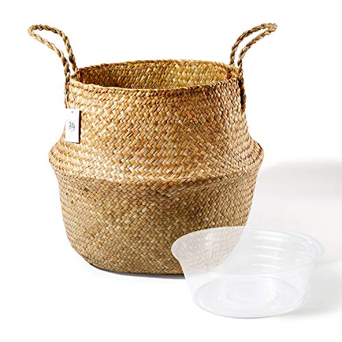 Learn More About POTEY Seagrass Plant Basket - Hand Woven Belly Basket with Handles, Extra Large Sto...