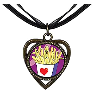 Chicforest Bronze Retro Style Love French Fries Heart Shaped Pendant