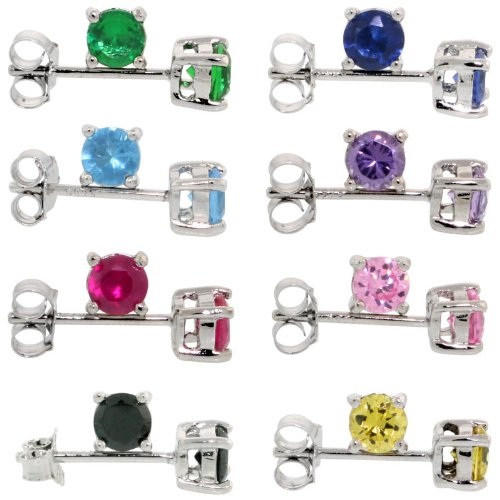 (8 Colors Set Sterling Silver CZ Stud Earrings 1/2 carat/pair Basket Set Rhodium Finish Assorted Colors,)