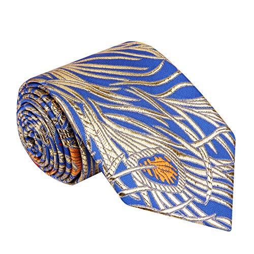 - Twenty Dollar Tie Men's Abstract Tie Pocket Square Cuff-links (Blue/Bright Gold)