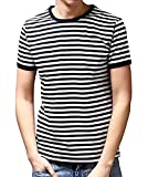 Ezsskj Men's Youth Short Sleeve Crew Neck Striped T Shirt Tee Outfits Tops XX-Large Black