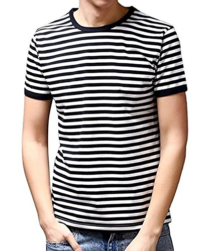 (Ezsskj Men's Youth Short Sleeve Crew Neck Striped T Shirt Tee Outfits Tops Small Black)