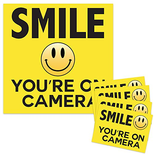 Smile Your On Camera - Security Signs - Includes (1) 10