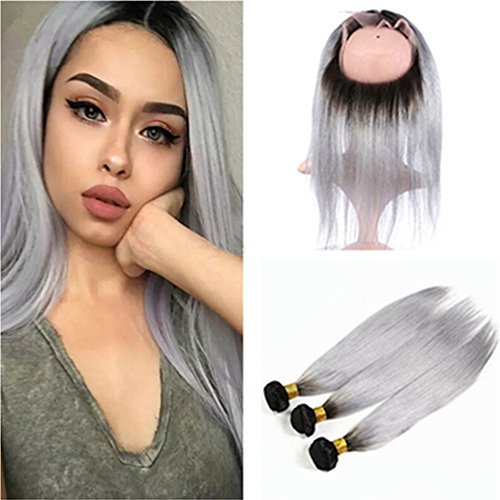 Ruma Hair Silver Grey Dark Root Ombre Hair With 360 Lace Frontal Closure Two Tone #1B/Grey Ombre Silky Straight Virgin Human Hair Bundles With Pre Plucked Full Lace Band Frontals (10+12 14 16)