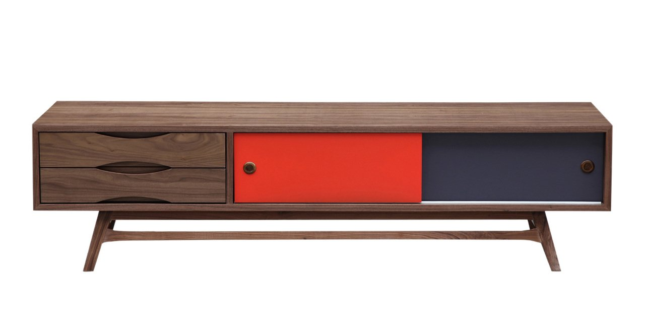 Kardiel Color Pop Mid-century Modern Media Cabinet, Walnut/Orange & Charcoal Doors