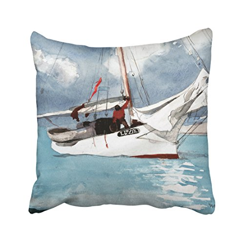 Accrocn Filling Throw Pillow Covers Winslow Homer Fishing Boats Key West Pillowcases Polyester 18 X 18 Inch With Hidden Zipper Accommodations Sofa Cushion Decorative Pillowcase