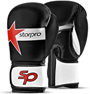 Starpro Performer 2.0 Boxing Gloves| Cow Hide Leather| Black & White for Training in Training Kickboxing F