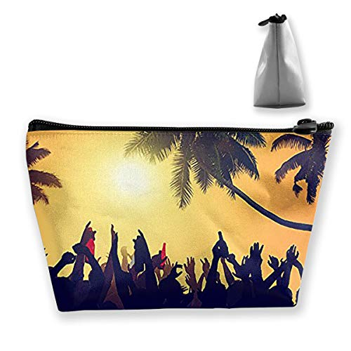Hawallan Beach Party Cosmetic Tote Bag Carry Case - Large Trapezoidal Storage Pouch - Travel Accessories Portable Make-up Bag