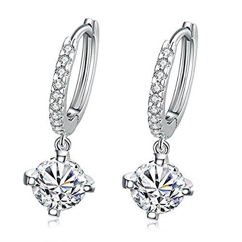 - Ocaler Gold / Silver Plated Crystal Rhinestone Hoop Hook Earrings