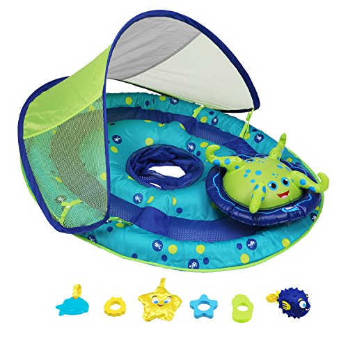 51kZhsU756L - SwimWays Baby Spring Float Activity Center with Canopy -  Blue/Green Octopus